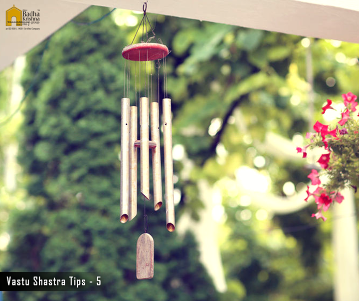 Use wind chimes as the tinkling bells help to break negative energy patterns and help the positive energy to flow easily. #VastuShastraTips #ShreeRadhaKrishnaGroup #Ahmedabad