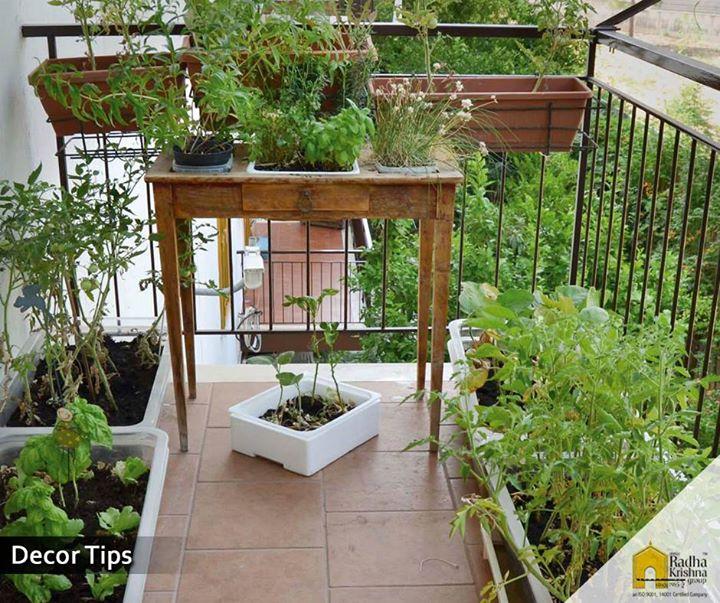 Keep your balcony green and fresh by planting colourful flowers and vines. #DecorTips #ShreeRadhaKrishnaGroup #Ahmedabad #LuxuriousLifeStyle
