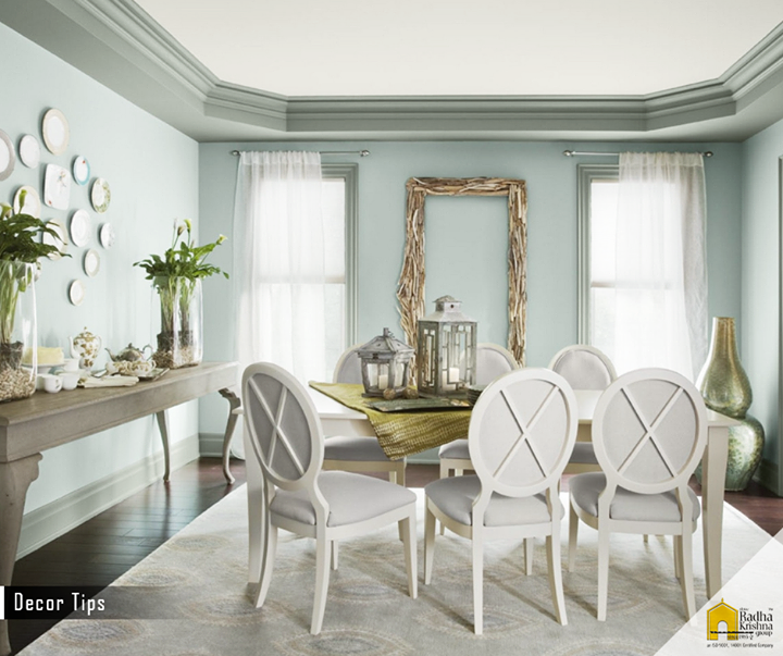 It is advisable to paint the rooms in softer and lighter colors to help make the rooms feel larger. Lighter colours and mirrors give the optical illusion of space. #DecorTips #ShreeRadhaKrishnaGroup #Ahmedabad