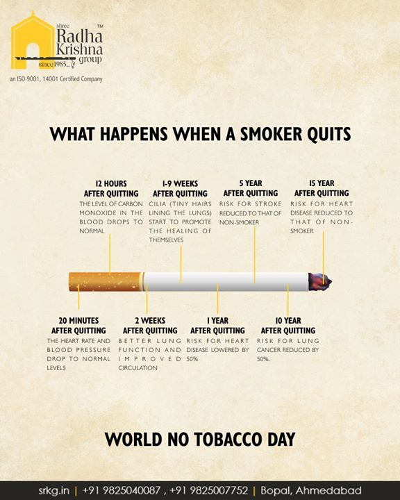 What happens when a Smoker Quits Smoking.   #SayNoToTobacco #WorldNoTobaccoDay #NoTobaccoDay  #3and4BHKApartments #ReadyPossession #LuxuryLiving #ShreeRadhaKrishnaGroup #Ambli #Ahmedabad #JaldeepVertex