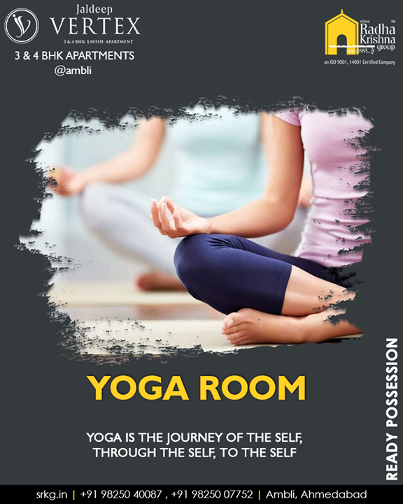 At the yoga room at #JaldeepVertex, take one step closer to your own self  #3and4BHKApartments #ReadyPossession #LuxuryLiving #ShreeRadhaKrishnaGroup #Ambli #Ahmedabad