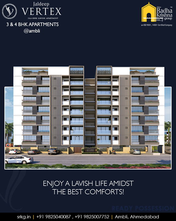 #JaldeepVertex amalgamates world class features with the excellent design!‬‬‬‬‬‬  #3and4BHKApartments #ReadyPossession #LuxuryLiving #ShreeRadhaKrishnaGroup #Ambli #Ahmedabad