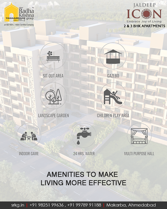 Every apartment at #JaldeepIcon is carefully crafted to provide you with the best of amenities that will help you lead the upgraded holistic lifestyle.  #SampleFlatReady #2and3BHKApartments #Amenities #LuxuryLiving #ShreeRadhaKrishnaGroup #Makarba #Ahmedabad