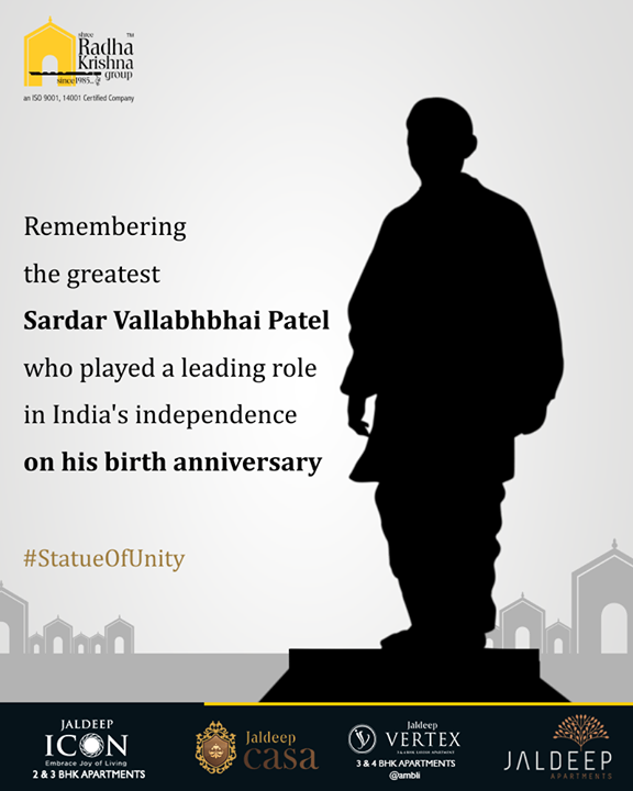 Remembering the greatest Sardar Vallabhbhai Patel who played a leading role in India's independence on his birth anniversary.   #StatueOfUnity #UnityStatue #WorldsTallestStatue #TallestStatueOfTheWorld #TallestStatue #IronMan #IronManOfIndia #SardarVallabhbhaiPatel #ShreeRadhaKrishnaGroup #Gujarat #India