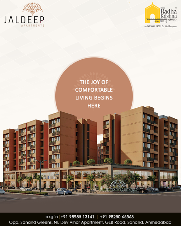 Explore an array of remarkable amenities & superior specifications that correctly match your stature!  Enjoy the joy of a comfortable living at #JaldeepApartment.  #ReconnectWithHappiness #JaldeepApartments #Sanand #ShreeRadhaKrishnaGroup #Ahmedabad #RealEstate #LuxuryLiving