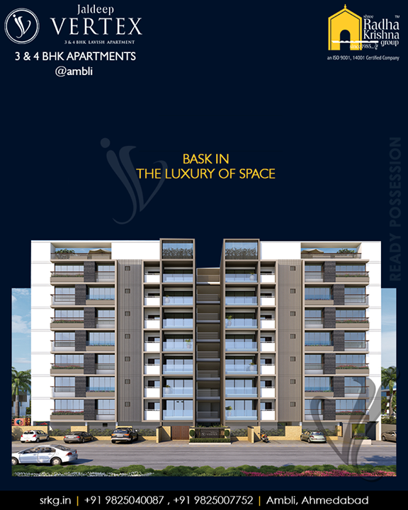 Bask in the luxury of space!  #JaldeepVertex is for the ones who desire their home to be spacious and roomy!  #LuxuryOfSpace #Ambli #ShreeRadhaKrishnaGroup #Ahmedabad #RealEstate #LuxuryLiving