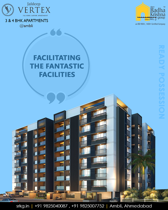 Facilitating a host of the fantastic facilities, #JaldeepVertex indeed offers the quintessence of a good life.  #FacilitatingFantasticFacilities #ExcellenceEverydayEveryway #LuxuryOfSpace #Ambli #ShreeRadhaKrishnaGroup #AmbliRoad #Ahmedabad #RealEstate #LuxuryLiving