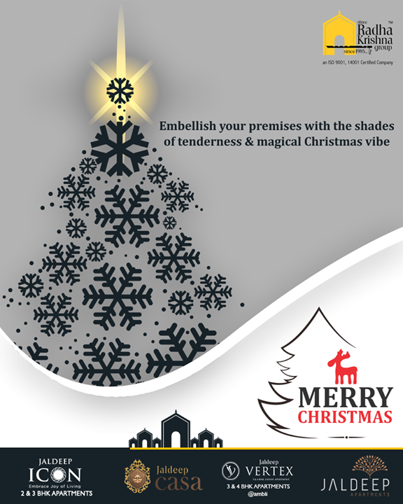 Embellish your premises with the shades of tenderness & magical Christmas vibes. Merry Christmas.  #Christmas #MerryChristmas #Christmas2018 #Celebration #ShreeRadhaKrishnaGroup #Ahmedabad #RealEstate