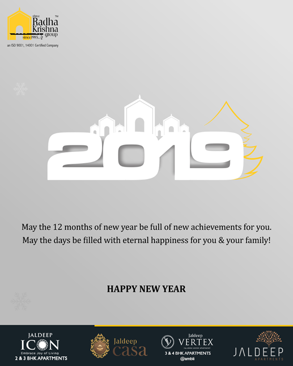 May the 12 months of new year be full of new achievements for you. May the days be filled with eternal happiness for you & your family!  #NewYear #NewYear2019 #HappyNewYear #2K19 #ShreeRadhaKrishnaGroup #SRKG #Ahmedabad #RealEstate