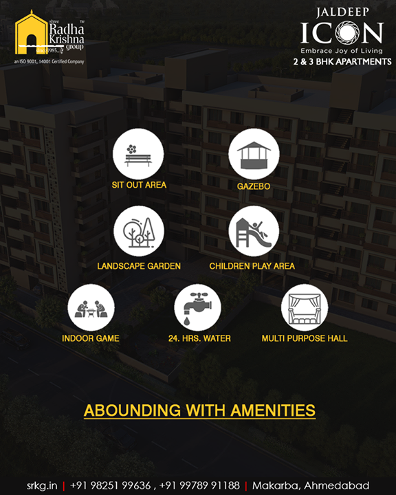 The iconic apartments at #JaldeepIcon are abounding with amenities & luxuries of the modern days to offer its residents boundless delight.  #AboundingWithAmenities #IconicAbodes #SampleFlatReady #2and3BHKApartments #LuxuryLiving #ShreeRadhaKrishnaGroup #Makarba #Ahmedabad #RealEstate #NewYearResolution #AnAssetToCelebrate