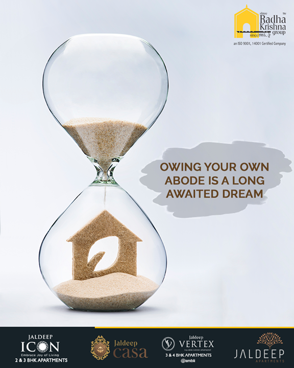 Owing your own abode is a long-awaited dream.  Hustle and let the much-awaited dream come true with Shree Radha Krishna Group.  #AnAssetToCelebrate #NewYearResolution #GoodInvestment #YourHome #ShreeRadhaKrishnaGroup #Ahmedabad #RealEstate #JaldeepApartment #JaldeepVertext #JaldeepCasa #JaldeepIcon