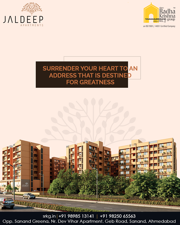#JaldeepApartment features an exquisite collection of apartments that are lavishly designed to offer an exclusive lifestyle which is way beyond the merely ordinary. Gear up to surrender your heart to an address that is destined for greatness!  #AnAssetToCelebrate #GoodInvestment #AestheticallyAppealingNAlluring #JaldeepApartments #Sanand #ShreeRadhaKrishnaGroup #Ahmedabad #RealEstate #LuxuryLiving
