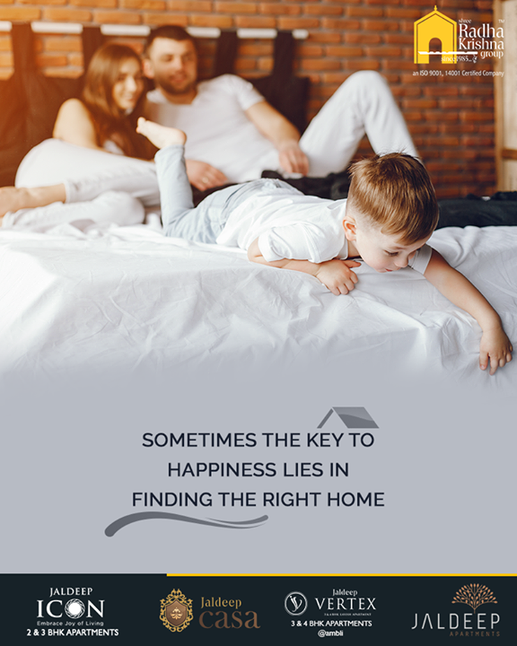 Sometimes the key to happiness lies in finding the right home! Make the process of choosing your dream home an easy game with Shree Radha Krishna Group.  #JaldeepCasa #UnfoldSuperlativeLuxury #CelebrateLife365Days #AnAssetToCelebrate #GoodInvestment #WorkOfArtResidence #Bopal #ShreeRadhaKrishnaGroup #Ahmedabad #RealEstate #LuxuryLiving