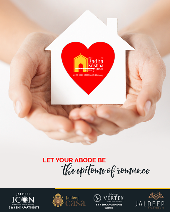 It is the presence of love that transforms a house into home. Awaken the love within and let your abode be the epitome of romance.  #TOTD #HappyHomes #YourHome #ShreeRadhaKrishnaGroup #Ahmedabad #RealEstate #JaldeepApartment #JaldeepVertext #JaldeepCasa #JaldeepIcon