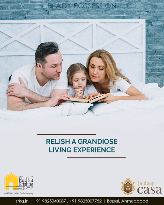 Relish a grandiose living experience that you have always desired for #JaldeepCasa.  #WorldOfHappiness #WorkOfArtResidence #Bopal #ShreeRadhaKrishnaGroup #Ahmedabad #RealEstate #LuxuryLiving