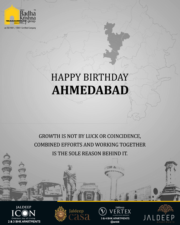 Warm wishes on the birthday of our vibrant city!  #ShreeRadhaKrishnaGroup #Ahmedabad #RealEstate #LuxuryLiving #HappyBirthdayAhmedabad #AhmedabadBirthday #MaruAmdavad