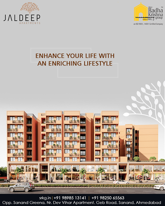 Enhance your life with an enriching lifestyle at the intricately designed 2Bhk apartments at #JaldeepApartment.  #AnAssetToCelebrate #GoodInvestment #AestheticallyAppealingNAlluring #JaldeepApartments #Sanand #ShreeRadhaKrishnaGroup #Ahmedabad #RealEstate #LuxuryLiving