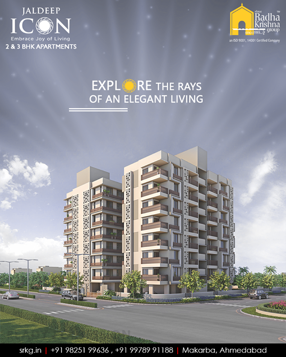 Explore the rays of an elegant living at the thoughtfully designed residential project #JaldeepIcon that is loaded with recreational activities and equipped with the best of amenities.  #RaysOfElegantLiving #SampleFlatReady #2and3BHKApartments #Amenities #LuxuryLiving #ShreeRadhaKrishnaGroup #Makarba #Ahmedabad