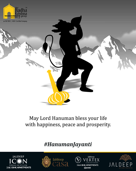 May Lord Hanuman bless your life with happiness, peace and prosperity.  #HanumanJayanti #IndianFestival #ShreeRadhaKrishnaGroup #Ahmedabad #RealEstate