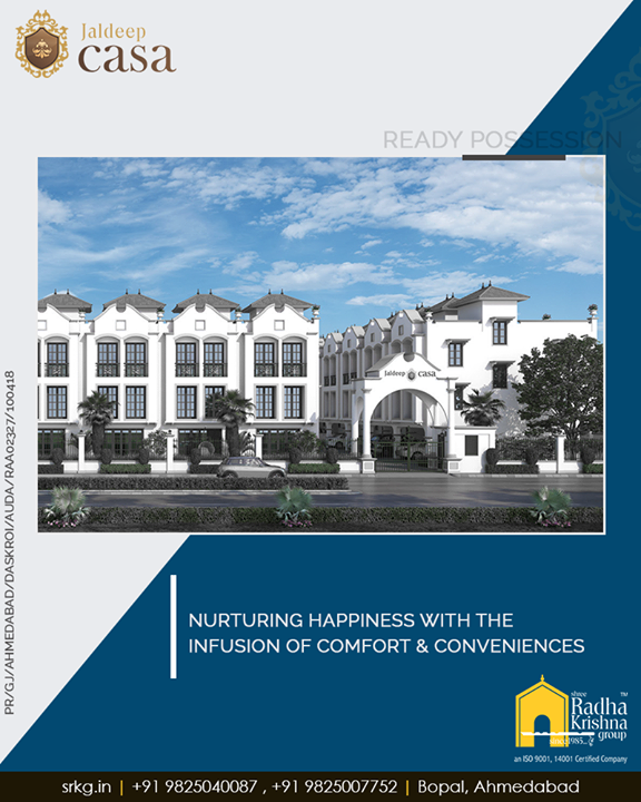 Buy this dwelling treat where your happiness will be nurtured with the infusion of comfort & conveniences.  #WorldOfHappiness #WorkOfArtResidence #Bopal #ShreeRadhaKrishnaGroup #Ahmedabad #RealEstate #LuxuryLiving