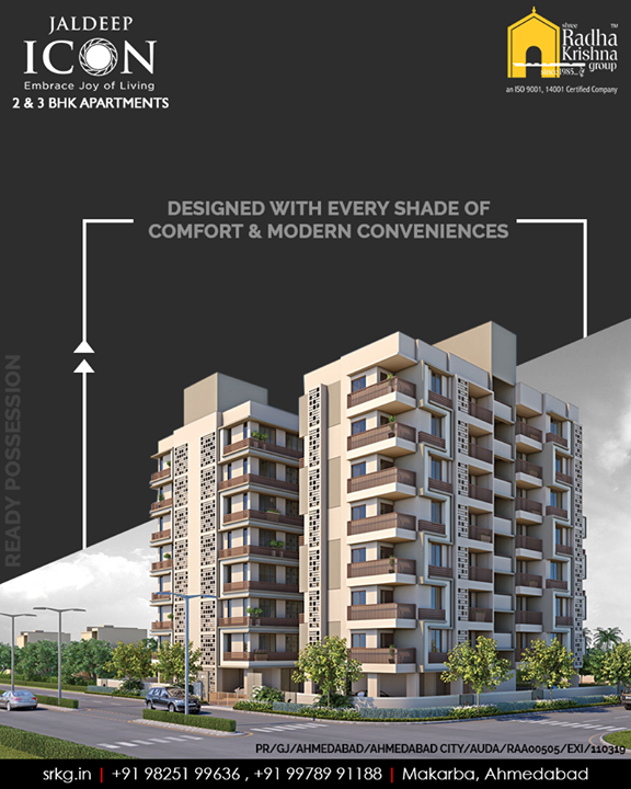 Designed with every shade of comfort & modern conveniences, #JaldeepIcon by Shree Radha Krishna Group presents its residents a choice of exclusive homes and lifestyle amenities.  #RaysOfElegantLiving #SampleFlatReady #2and3BHKApartments #Amenities #LuxuryLiving #ShreeRadhaKrishnaGroup #Makarba #Ahmedabad