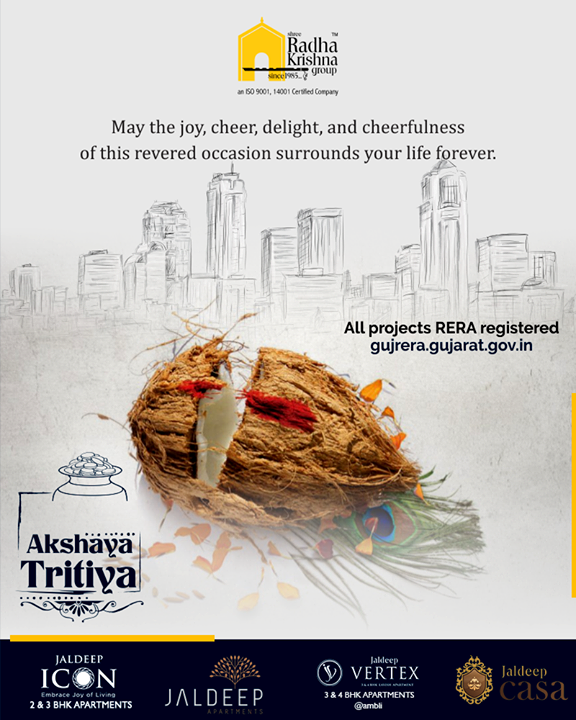 May the joy, cheer, delight, and cheerfulness of this revered occasion surrounds your life forever  #AkshayaTritiya #ShreeRadhaKrishnaGroup #Ahmedabad #RealEstate