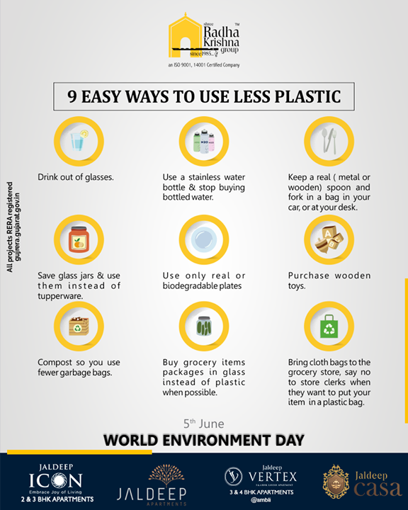 This Environment Day learn 9 easy ways to use less plastic  #WorldEnvironmentDay #EnvironmentDay #SaveEnvironment #PledgeGreen #ShreeRadhaKrishnaGroup #SRKG #Ahmedabad #RealEstate