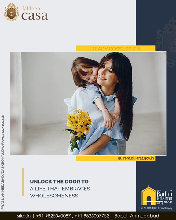 Live the happy lifestyle and unlock the door to a life that embraces wholesomeness at the stupendously designed & marvelously positioned; #JaldeepCasa.  #ShreeRadhaKrishnaGroup #SRKG #Ahmedabad #RealEstate