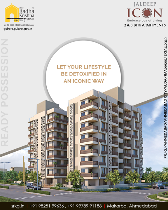 Experience the bliss o living and let your lifestyle be detoxified in an iconic way with the colors of excellence at the elegantly designed #JaldeepIcon.  #Icon #SampleFlatReady #Amenities #LuxuryLiving #ShreeRadhaKrishnaGroup #Ahmedabad #RealEstate #SRKG