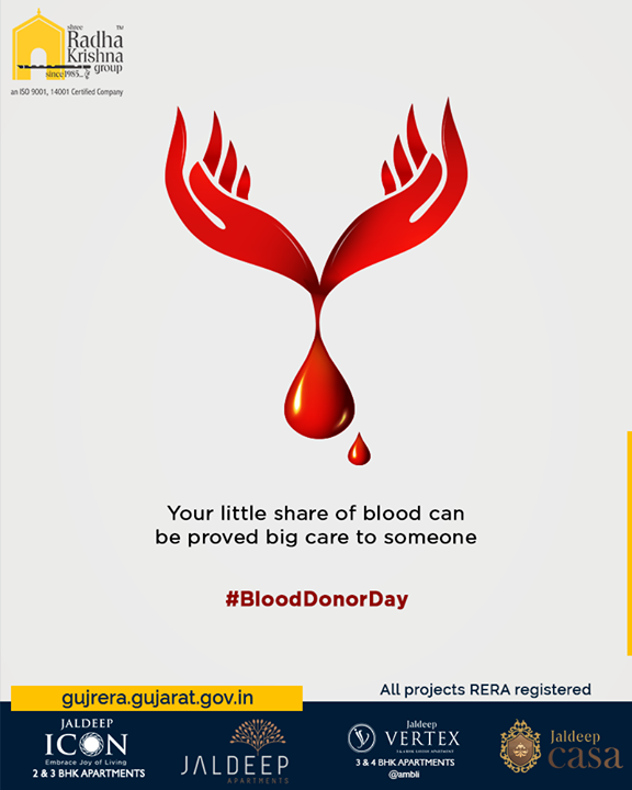 Your little share of blood can be proved big care to someone.  #WorldBloodDonorDay #BloodDonorDay #DonateBlood #ShreeRadhaKrishnaGroup #Ahmedabad #RealEstate #SRKG