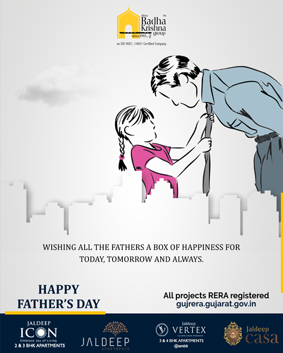 Wishing all the fathers a box of happiness for today, tomorrow and always.  #HappyFathersDay #FathersDay #FathersDay2019 #DAD #Father #Fatherhood #ShreeRadhaKrishnaGroup #Ahmedabad #RealEstate #SRKG