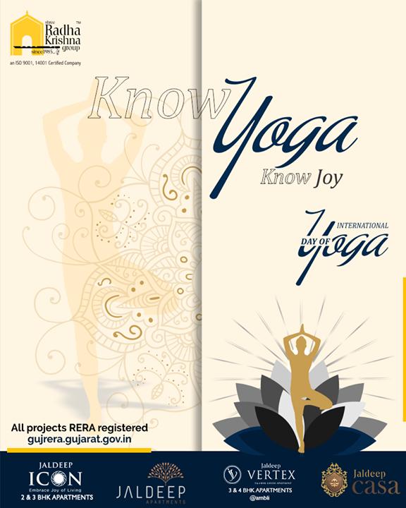 Know yoga know joy.  #InternationalDayofYoga #InternationalYogaDay #YogaDay #YogaDay2019 #Yoga #IDY2019 #IYD2019 #ShreeRadhaKrishnaGroup #Ahmedabad #RealEstate #SRKG
