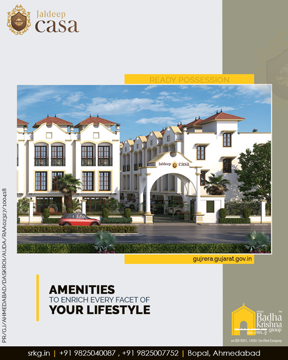 Radha Krishna Group,  JaldeepCasa., Amenities, LuxuryLiving, ShreeRadhaKrishnaGroup, Ahmedabad, RealEstate, SRKG