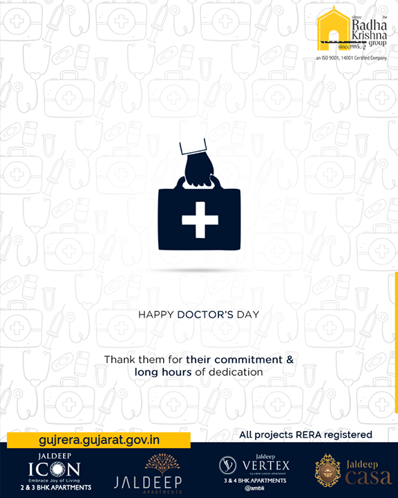 Thank them for their commitment & long hours of dedication.  #HappyDoctorsDay #DoctorsDay #NationalDoctorsDay #ShreeRadhaKrishnaGroup #LuxuryLiving  #Ahmedabad #RealEstate #SRKG
