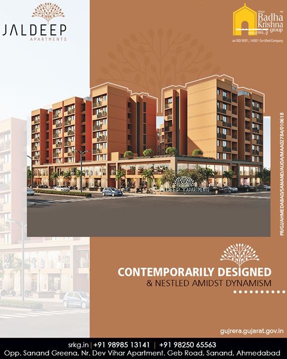 Contemporarily designed & nestled amidst dynamism; #JaldeepApartment is an exemplary choice for home-buyers seeking for comfortable quality-living.  #SampleFlatReady #Amenities #LuxuryLiving #ShreeRadhaKrishnaGroup #Ahmedabad #RealEstate #SRKG