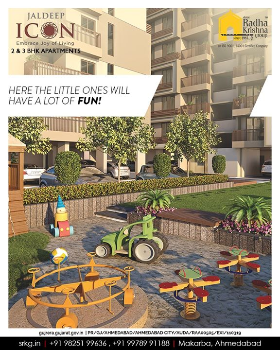 With access to a landscaped, play area and multiple outdoor game choices here at #JaldeepIcon the little ones will have a lot of fun.  Get your space booked and give your child a million reasons to thank you!  #IconicLiving #ShreeRadhaKrishnaGroup #Ahmedabad #RealEstate #SRKG #KidFriendlyAmenities