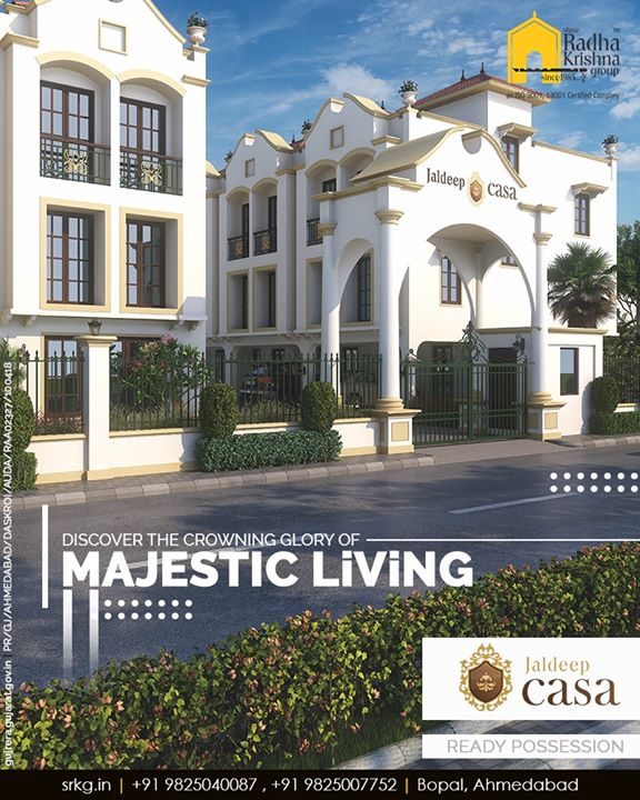 Discover the crowning glory of majestic living at your own abode symbolizing grandeur in the heart of the town.  #ShreeRadhaKrishnaGroup #Ahmedabad #RealEstate #SRKG #JaldeepCasa #CasaLiving #Bopal
