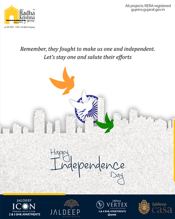 Remember, they fought to make us one and independent. Let's stay one and salute their efforts.   #HappyIndependenceDay #IndependenceDay19 #IndependenceDay #IndependenceWeek #Celebration #15thAugust #Freedom #India #ShreeRadhaKrishnaGroup #Ahmedabad #RealEstate #SRKG