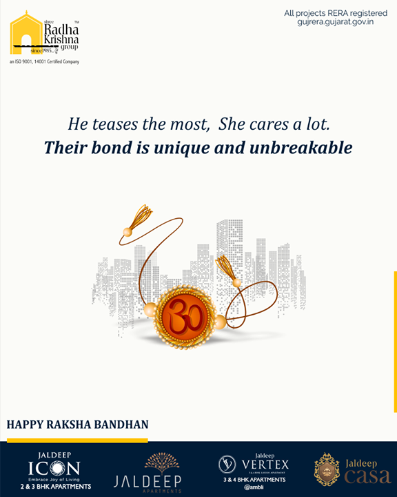He teases the most,  She cares a lot. Their bond is unique and unbreakable  #Rakshabandhan2019 #Rakshabandhan #HappyRakshabandhan #IndianFestivals #Celebrations #Festivities #ShreeRadhaKrishnaGroup #Ahmedabad #RealEstate #SRKG #KidFriendlyAmenities