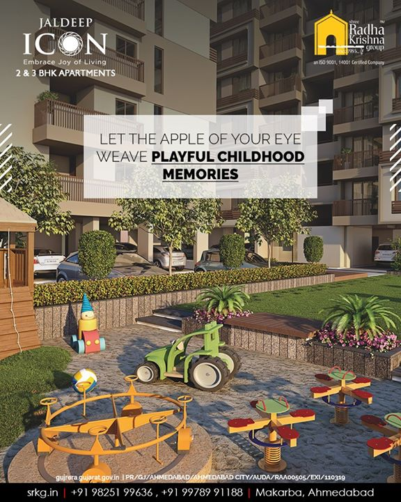 Let the apple of your eye weave happy childhood memories at the play area of #JaldeepIcon.  #Amenities #LuxuryLiving #ShreeRadhaKrishnaGroup #Ahmedabad #RealEstate #SRKG #IconicApartments #IconicLiving