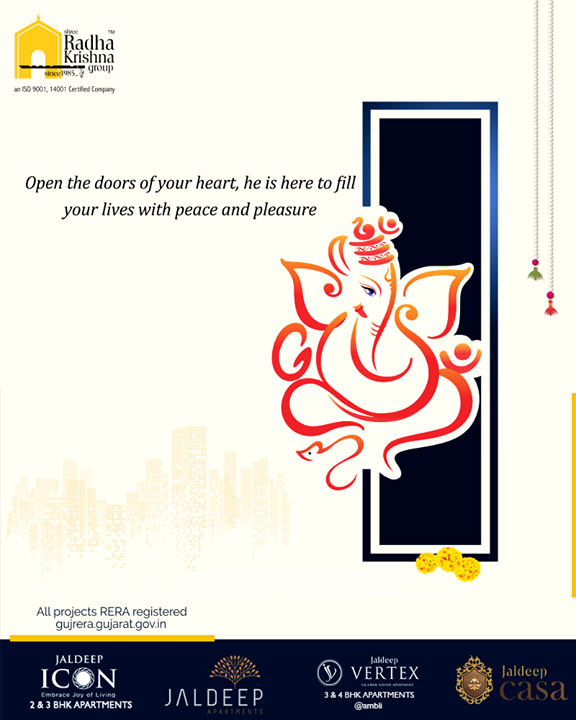 Open the doors of your heart, he is here to fill your lives with peace and pleasure.  #GaneshChaturthi2019 #GanpatiBappaMorya #HappyGaneshChaturthi #Ganesha #GaneshChaturthi #ShreeRadhaKrishnaGroup #Ahmedabad #RealEstate #SRKG