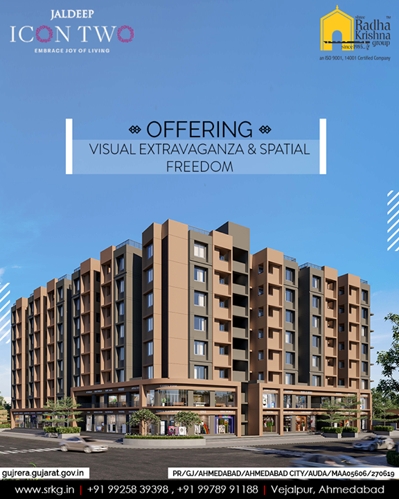 Offering an intangible visual extravaganza & spatial freedom #JaldepIcon2 is a world of indulgence.  #Icon2 #ShreeRadhaKrishnaGroup #Ahmedabad #RealEstate #SRKG