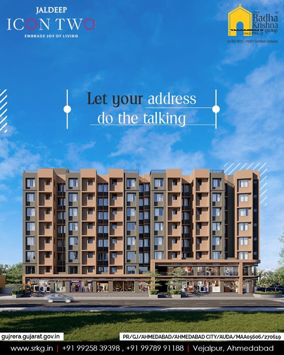 Get used to many envious smiles and let your address do the talking at #JaldeepIcon2.  #Icon2 #ShreeRadhaKrishnaGroup #Ahmedabad #RealEstate #SRKG