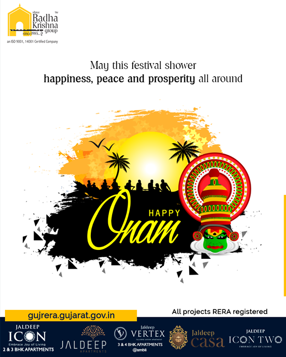 May this festival shower happiness, peace, and prosperity all around.  #HappyOnam #Onam #Onam2019 #ShreeRadhaKrishnaGroup #Ahmedabad #RealEstate #SRKG
