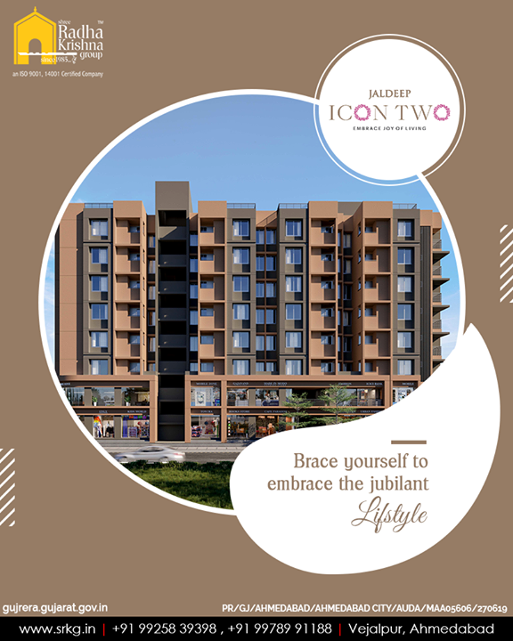 Brace yourself to embrace the jubilant lifestyle at the iconic residential landmark;#JaldeepIcon2.  #Icon2 #ShreeRadhaKrishnaGroup #Ahmedabad #RealEstate #SRKG