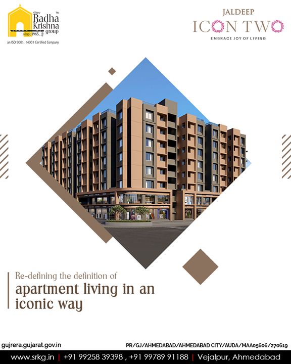 Re-defining the definition of apartment living in an iconic way for the residents to rejuvenate.  #JaldeepIcon2 #LuxuryLiving #ShreeRadhaKrishnaGroup #Ahmedabad #RealEstate #SRKG #IconicApartments