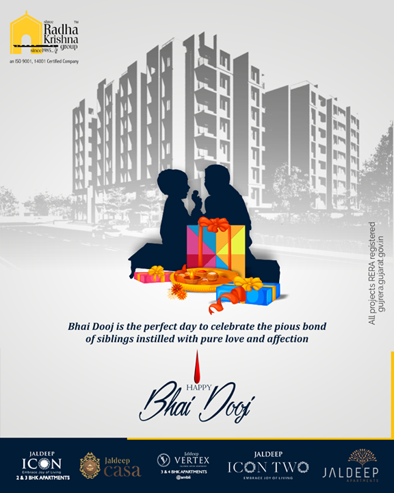 Bhai Dooj is the perfect day to celebrate the pious bond of siblings instilled with pure love and affection.  #BhaiDooj #Diwali2019 #BhaiDooj2019 #Celebration #FestiveSeason #IndianFestivals #BrotherSister #HappyBhaiDooj #ShreeRadhaKrishnaGroup #Ahmedabad #RealEstate #SRKG
