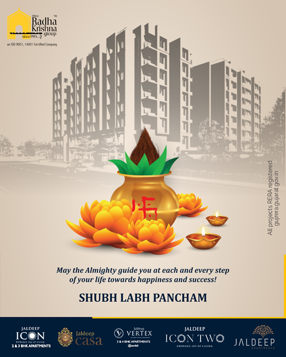 May the Almighty guide you at each and every step of your life towards happiness and success!  #HappyLabhPancham #ShubhLabhPancham #LabhPancham2019 #LabhPancham #Celebration #FestiveSeason #IndianFestivals #Diwali2019 #ShreeRadhaKrishnaGroup #Ahmedabad #RealEstate #SRKG