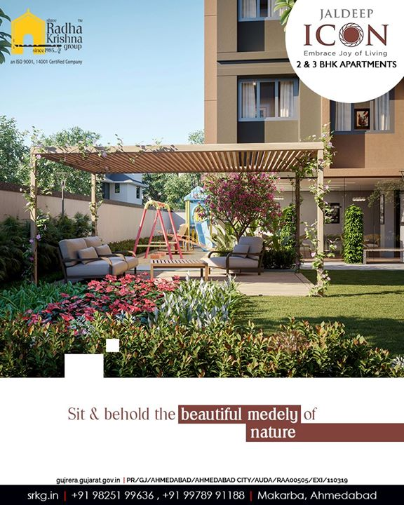 Sit & behold the beautiful medely of nature. Experience a livelier life at Jaldeep Icon!  #Amenities #LuxuryLiving #ShreeRadhaKrishnaGroup #Ahmedabad #RealEstate #SRKG #IconicApartments #IconicLiving