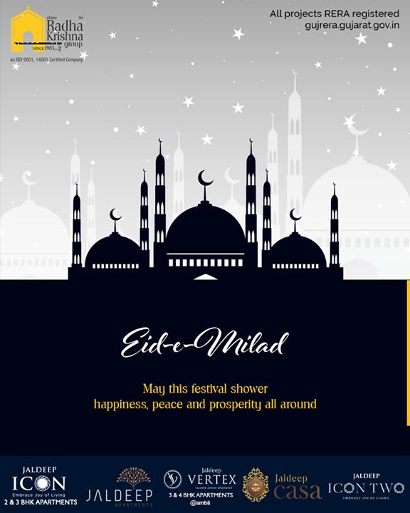 May Allah endow you with tranquility, wisdom, and mirth!  #EideMilad #EidMubarak #ShreeRadhaKrishnaGroup #Ahmedabad #RealEstate #SRKG
